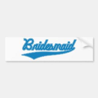 Bridesmaid (Baseball Script Blue) Car Bumper Sticker