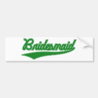 Bridesmaid (Baseball Script Green) Car Bumper Sticker