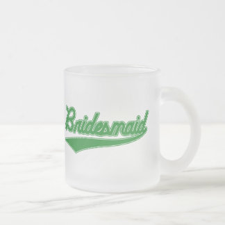 Bridesmaid (Baseball Script Green) Frosted Glass Coffee Mug