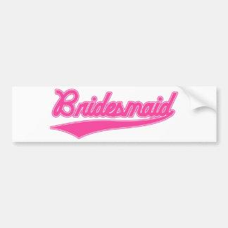 Bridesmaid (Baseball Script Pink) Car Bumper Sticker