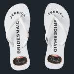 """Bridesmaid Beach Wedding   Team Bride Flip Flops<br><div class=""""desc"""">Customized, romantic floral beach wedding flip flop sandals- Faux chalkboard design at bottom with popular rose gold glitter look edges and vintage style pink rose floral wreath. Reads Team, then Bride, on other sandal in elegant style, pastel pink letters. Bridesmaid is printed down the middle in modern, black letters. Change...</div>"""