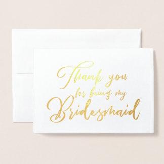Bridesmaid Beautiful Wedding Thank you Foil Card
