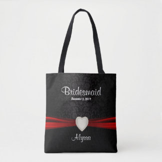 Bridesmaid - Black and Red Team Bride Tote Bag