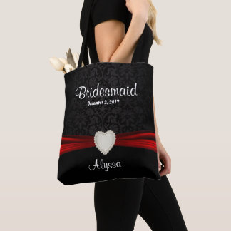 Bridesmaid - Black and Red Team Bride Tote Bag
