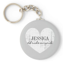 Bridesmaid black and white heart button keychains