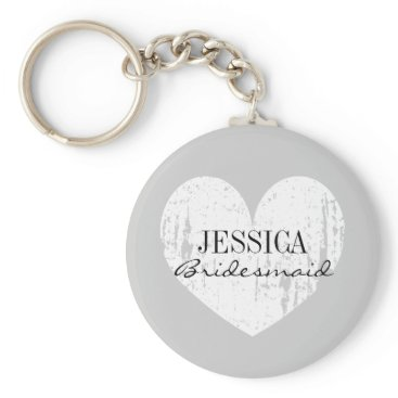 Valentines Themed Bridesmaid black and white heart button keychains