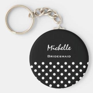 Bridesmaid Black and White Polka Dots Basic Round Button Keychain