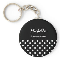 Bridesmaid Black and White Polka Dots Keychain