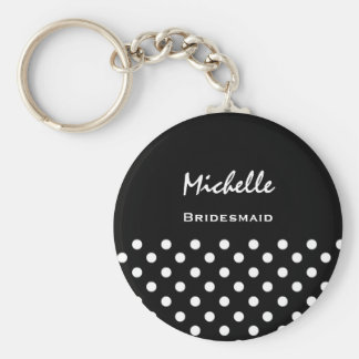 Bridesmaid Black and White Polka Dots Keychain