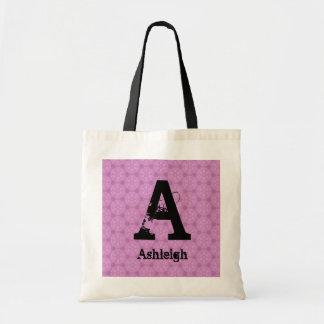 Bridesmaid Black Grunge Monogram and Pink F002 Budget Tote Bag