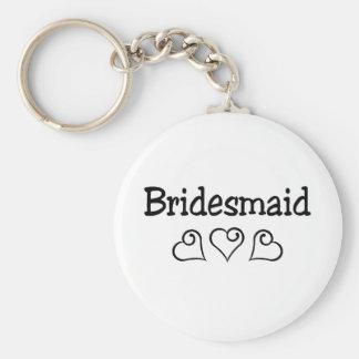 Bridesmaid Black Hearts Basic Round Button Keychain
