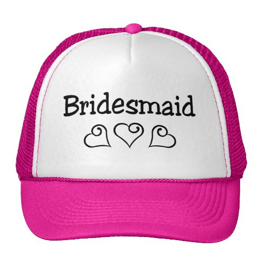 Bridesmaid Black Hearts Mesh Hat