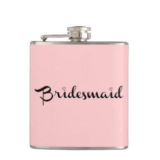 Bridesmaid Black On Pink Flask