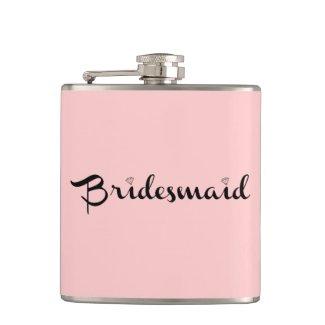 Bridesmaid Black On Pink Hip Flasks