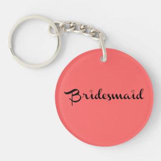 Bridesmaid Black on Salmon Single-Sided Round Acrylic Keychain