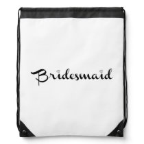 Bridesmaid Black on White Drawstring Backpack