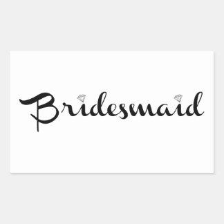 Bridesmaid Black on White Rectangular Sticker