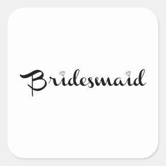 Bridesmaid Black on White Square Sticker