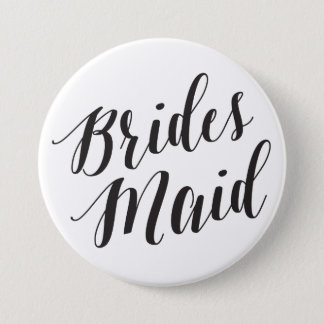Bridesmaid Black Script Button