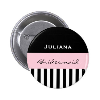 Bridesmaid BLACK STRIPES with PINK V01 Button