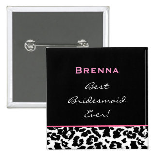 Bridesmaid Black White Pink Leopard Custom Name Button