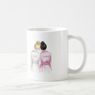 Bridesmaid? Blonde Bun Bride Black Bun Maid Classic White Coffee Mug