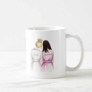 Bridesmaid? Blonde Bun Bride Dk Br Long Maid Classic White Coffee Mug