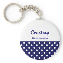 Bridesmaid Blue and White Polka Dots KC17 Keychain