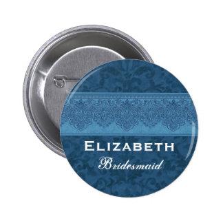 Bridesmaid Blue Damask Ribbon Custom Name Button