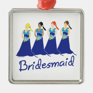 Bridesmaid Blue Dress Christmas Ornaments