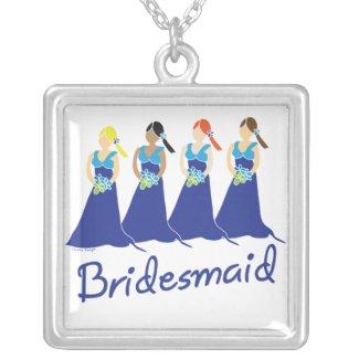 Bridesmaid Blue Dress Pendant