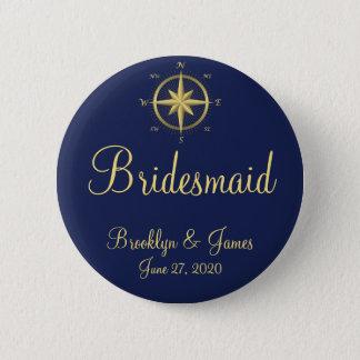 Bridesmaid Blue Nautical Wedding Buttons