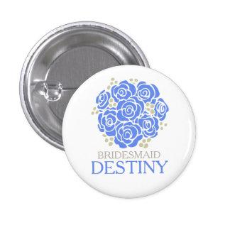 Bridesmaid blue posy named wedding pin button