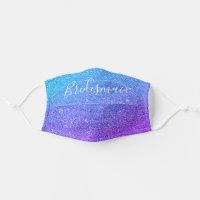 Bridesmaid Blue Purple Lavender Glitter Sparkle Cloth Face Mask
