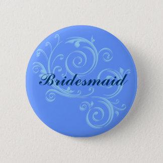 Bridesmaid Blue Scroll Button