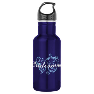 Bridesmaid, Blue Scroll 18oz Water Bottle