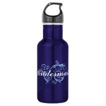 Bridesmaid, Blue Scroll Stainless Steel Water Bottle