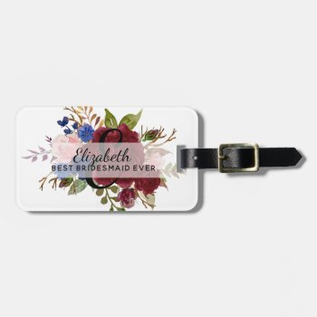 Bridesmaid Bridal Party Gifts Burgundy Blue Floral Luggage Tag