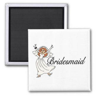 Bridesmaid Bride 2 Inch Square Magnet