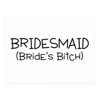 Bridesmaid Brides Bitch Black Text Postcard