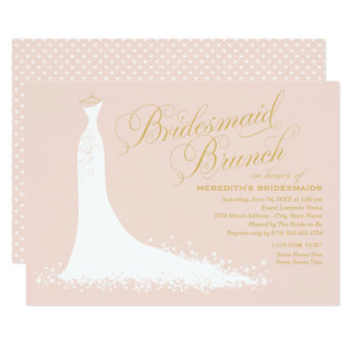 Bridesmaid Brunch | Elegant Wedding Gown Card