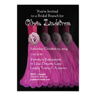 Bridesmaid Brunch Pink Dresses Metallic Paper Card