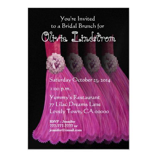 Bridesmaid Brunch Pink Dresses Metallic Paper Personalized Announcements