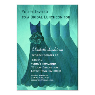 Bridesmaid Brunch Teal Green Dresses Metallic Card