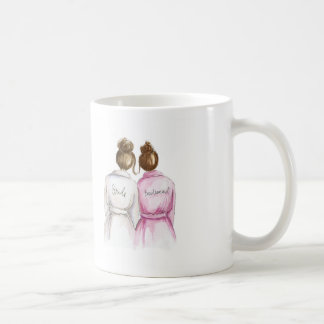 Bridesmaid? Brunette Bun Bride Auburn Bun Maid Classic White Coffee Mug