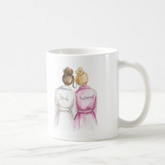 Bridesmaid? Brunette Bun Bride Bl Bun Maid Classic White Coffee Mug