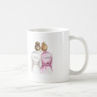 Bridesmaid? Brunette Bun Bride Dk Blonde Bun Maid Coffee Mug