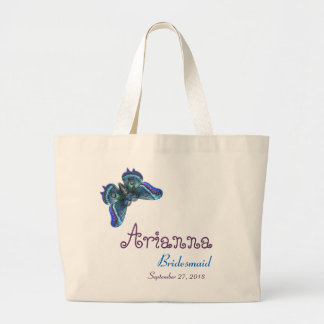 Bridesmaid Butterfly Purple Blue Large Tote Bag
