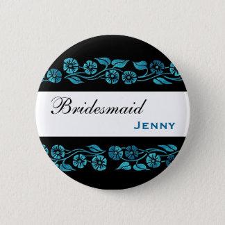 Bridesmaid Button Black with Blue Vintage Flowers