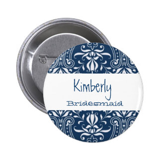 Bridesmaid Button Blue and White Damask S023